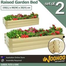 Raised Garden Bed 2 Pack 150 x 90 x 30cm Veggie Garden Flower Bed