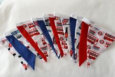 LONDON buses ROYAL WEDDING theme red white blue 15 flag Double Sided Bunting 3m