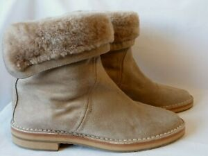 Jimmy Choo ANKLE BOOTS QUARLEY BEIGE SUEDE SHEARLING LINED Size 36.5 UK 3.5 VGC