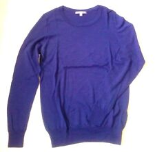 UNIQLO PULL OVER BLEU SAPHIR PURE LAINE WOOLMARK T. L 36 38 MAILLE FINE FEMME