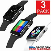 3 PACK Smart watch iPhone Android IOS W/ SIM Bluetooth Smart Watch Touch Screen