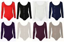 Womens PLUS SIZE Long Sleeve Stretch Bodysuit Ladies Leotard Body Top Tshirt