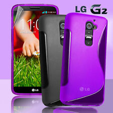 2 Colour Premium S Curve Jelly Case Cover for LG G2 / D802 + Screen Guard