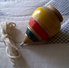 Mexican Hand Painted Wooden Top Spin (Trompo) with Nail Tip & Thread - Std Size