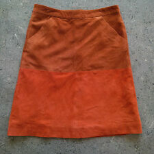 Opening Ceremony Soft Suede Brown & Orange Colorblock A-line Skirt Size 2 NWT