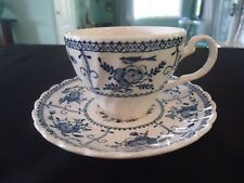 johnson bros brothers indies blue & white tea cup & saucer