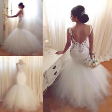 Sexy Mermaid Spaghetti Open Back Lace Wedding Dresses Bridal Gowns 2 4 6 8 10++