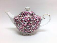 GRACE'S TEAWARE WHITE+MULTI COLOR FLOWER+GOLD TRIM CERAMIC TEA+COFFEE POT,TEAPOT