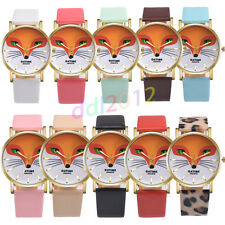 Retro Cute Cartoon Fox Casual Leather Band Analog Alloy Quartz Dress Wrist Watch