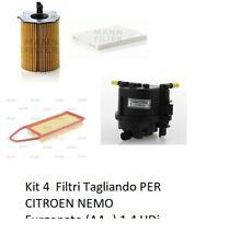 Kit 4  Filtri Tagliando PER CITROEN NEMO Furgonato (AA_) 1.4 HDi (50Kw)