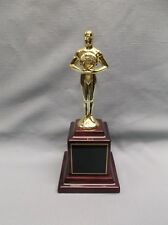 top quality die cast gold achievement male trophy on rosewood block base
