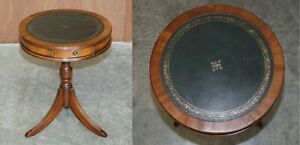 REGENCY STYLE VINTAGE LIGHT MAHOGANY & GREEN LEATHER TWIN DRAWER SIDE END TABLE