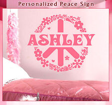 Peace Sign Flowers Hearts Custom Name Vinyl Wall Decor Mural Sticker Decal 064