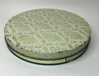 """Spicettees Nut Shoppe Empty Metal Nut Tin Round White Gold Floral  8.5"""" VTG"""