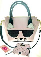 Luv Betsey Johnson Kitty Cat Sunglasses Shoulder Bag Handbag & Wallet Set Pink