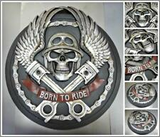 "HUGE BIKER MOTORCYCLE ""Born To Ride"" PLAQUE SIGN SCULPTURE EMBLEM Skull & Wings"