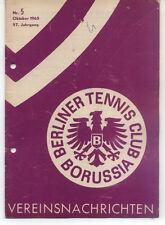 Tennis Borussia Berlin - Vereinsnachrichten - Oktober 1965