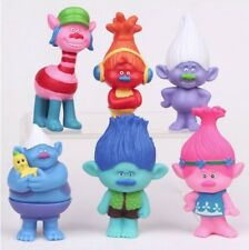 Trolls Figure 6 Pcs Cake Topper play set Doll USA Seller FAST SHIP Trolls party