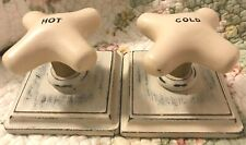 KITCHEN/BATH HOT & COLD RETRO FAUCET CROSS HANDLE PLAQUES ROBE/TOWEL HOOKS- SET