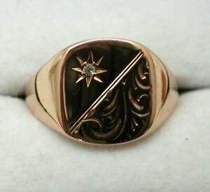 Gents Lovely 9 carat Rich Rose Gold And Diamond Signet Ring Size R