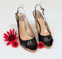 Pour la Victoire Black Patent Leather Cork Wedge Sandals US 8.5