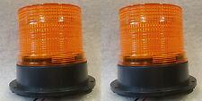 TWO Xenon Multi Flash Amber Orange Beacon Car Van Truck Permanen Mount 12v - 24v