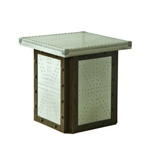 Industrial Modern Design Old Winery Natural Timber Wood & Aluminium Side Table