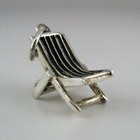 Sterling Silver BEACH CHAIR Charm FOR BRACELET Necklace Pendant VINTAGE New