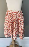 KATE SPADE Girls White w/Red Birds Pull On Twirl Skirt w/Pockets - Size 8