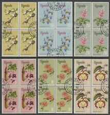 UGANDA 1969 FLOWERS 1/- to 20/- (x6) VALUES IN USED BLOCKS (x4) (ID:763/D59340)