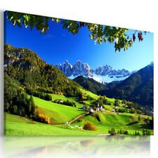 SUNRISE ALPS WINTER SKY VILLAGE View Canvas Wall Art Picture Large L641 MATAGA .