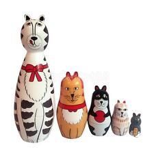 5pcs Wooden Nesting Dolls Matryoshka Hand Painted Cats Animals Russian Dolls