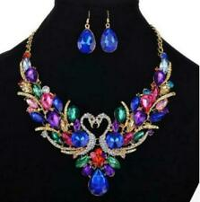 Pendant Betsey Johnson Fashion Jewelry Enamel Crystal swan Necklace Earring Set