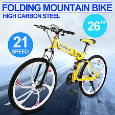 "Folding Mountain Bike Bicycle 26"" 21-Speed 6 Spokes Off-road Suspension Racing"