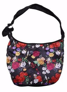 LOUNGEFLY DISNEY BEAUTY AND THE BEAST FLORAL CHARACTER SKETCH HOBO BAG Purse