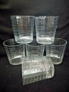 "Set Of 6 Pasabahce Windowpane Double On The Rocks Glasses tumblers 4"""