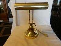 """Brass Desk or Table Lamp With Articulating Arm, Holds One Bulb 13.5"""" Tall"""