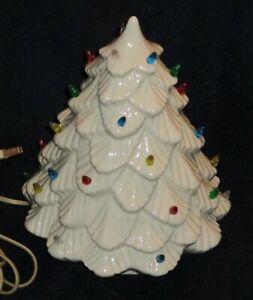 "Vintage White Ceramic Christmas Tree 12"" Multicolored Lights"