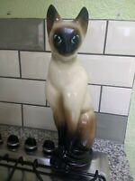 VINTAGE FIGURINE STATUE Simese Cat blue eyes. Stamped 316. Very good condition.
