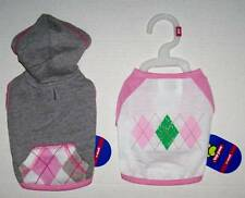 NWT Lot of 2 Dog Clothes Grey Pink Hoodie and Argyle T Shirt Size XS So cute!