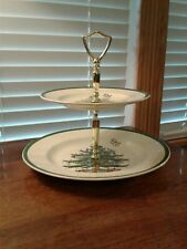Spode Christmas Tree 2 Tier Serving Party Appetizer Tidbit Tray Made In England