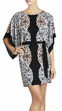 "NWT $228 BCBG BLACK COMBO ""LOIS"" CREW NECK KIMONO SLEEVE PRINTED DRESS XS"