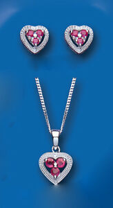 Ruby and Diamond Heart Set Pendant and Earrings Solid Sterling Silver