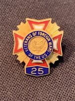 """VFW Veterans of Foreign Wars 25 Year Member Award Pin Marked """"L"""" Vintage"""