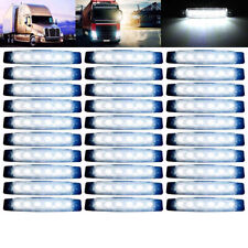 30Pcs Waterproof 6 LED Side Marker White Clearance Trailer Light Indicator Lamp