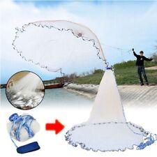 8FT/2.4m Easy Throw Hand Fishing Cast Net Spin Bait Nylon Strong Mesh w/ Sinker