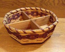 "Amish Handmade Reed Lazy Susan Basket 11"" With Divider"