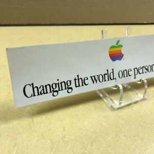 """Rare Sticker Cool """"Changing the world, one person at.."""" Apple Computer Macintosh"""