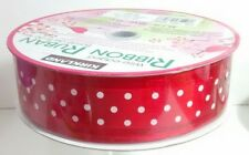 New Huge Roll Of Wire-Edge Red Polka Dot Ribbon • All Occasion • Gift Baskets •