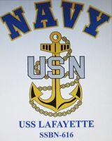 USS LAFAYETTE   SSBN-616 *  SUBMARINE  NAVY W/ ANCHOR* SHIRT